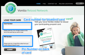Vanilla Reload Card website Bluebird